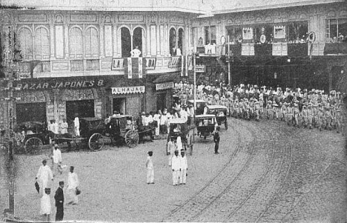1898 spanish troops marching on manila business corner