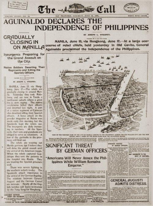Aguinaldo declares Philippine independence, SFC, June 18 1898