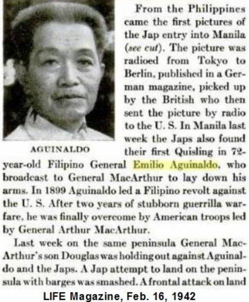 Aguinaldo in LIFE Mag Feb 16, 1942