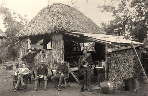 American soldiers near a thatched hut 1899