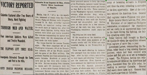 Calamba captured, text, Houston Post, July 28 1899