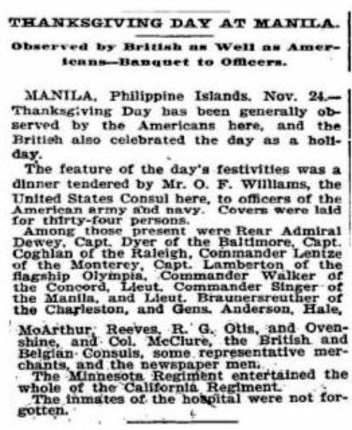 First Thanksgiving news Nov 24 1898