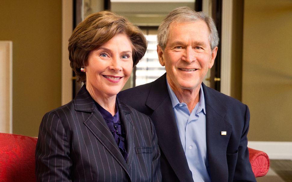 Portrait of George W. Bush and Laura Bush